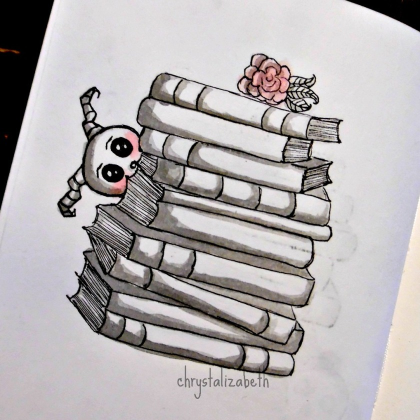 Doodle Monster with Books | chrystalizabeth