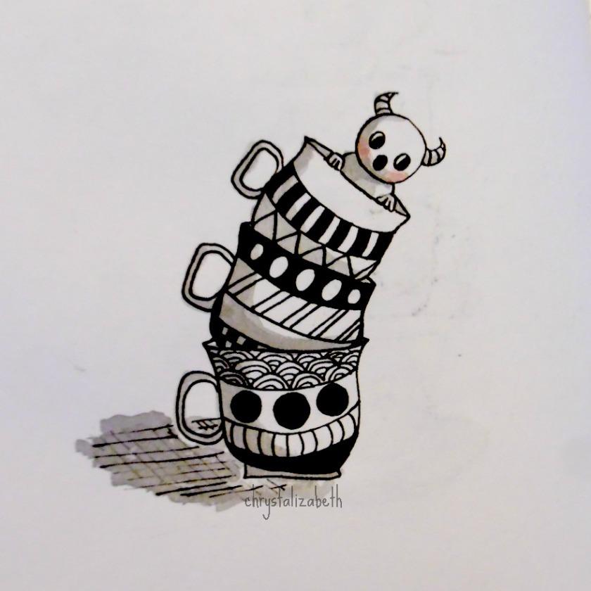 Doodle Monster in Tea Cups | chrystalizabeth