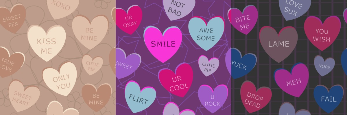 Valentine's Day Conversation Heart Pattern Designs
